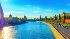 Kremlin wall and river in Moscow city. 4K timelapse Stock Footage