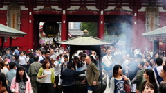 Tourists at Sensoji Temple  -  Tokyo Japan 4K Stock Footage