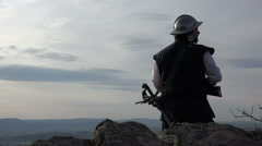Scout on Mountain Top Stock Footage