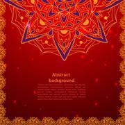 Circle lace ornament, round ornamental geometric doily pattern. - stock illustration