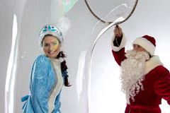 Image of snow maiden inside the soap bubble - stock photo