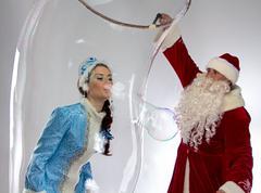 Portrait of snow maiden inside the soap bubble - stock photo