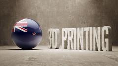 New Zealand.  3d Printing Concept Stock Illustration