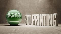Saudi Arabia.  3d Printing Concept - stock illustration