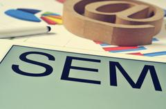 SEM, for Search Engine Marketing, in the screen of a tablet Kuvituskuvat