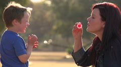 Slow motion of mother blowing bubbles towards child, child laughing happily Stock Footage