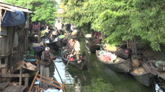 Nyaung Shwe, local activity on the canal in the morning Stock Footage