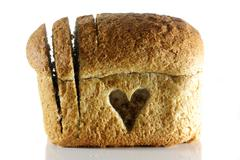 Wholemeal bread goodness with a love heart Stock Photos