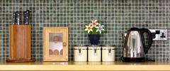 Kitchen worktop with kitchen items on Stock Photos