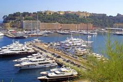 Luxury yachts in sea port of Monte-Carlo - stock photo