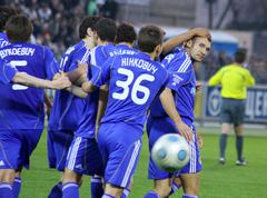 FC Dynamo Kyiv players congratulate Andriy Shevchenko - stock photo