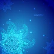 Blue Indian Vintage Ornament. Vector illustration for your business presentat - stock illustration