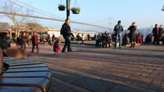 people walking Ortakoy square - stock footage