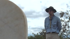 Scout visit the Robert Baden-Powell and Olave Baden-Powell tombstone Stock Footage