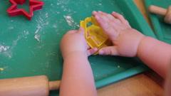 Girl mold plasticine Stock Footage