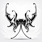Maori styled tattoo patterns fit for top or bottom back. - stock illustration