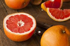 Healthy Organic Red Ruby Grapefruit - stock photo