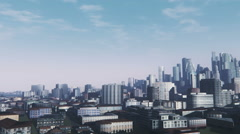 Abstract cityscape at daytime panorama Stock Footage