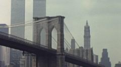 New York 1976: Brookline bridge and Twin towers Stock Footage