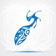 Blue sharp tribal tattoo - stock illustration