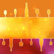 Stock Illustration of Silhouettes of wine bottles and glasses on an indistinct background.