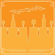 Orange silhouettes of wine attributes background in flat colors. - stock illustration