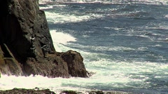 Waves crashing against the rock Stock Footage