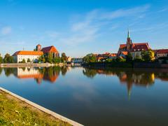 Wroclaw panorama at rive Oder - stock photo