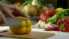 Cutting Knife Bell Pepper - stock footage