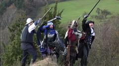 Group Of Adventurers Cheering - stock footage