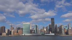 Timelapse beautiful Manhattan panorama cloud motion New York City landmark icon Stock Footage