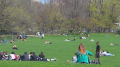 Timelapse people relax Central Park spring day Manhattan soccer game enjoy NYC  Stock Footage