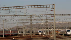 Bullet CRH train leaving railway station Stock Footage