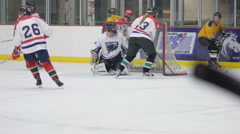 Hockey saves, Ice Hockey team sport game day - stock footage