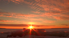 Sunset Cloudscape Icescape Stock Footage