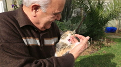 Senior man playing a cat in the garden Stock Footage