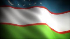 Flag of Uzbekistan - stock footage