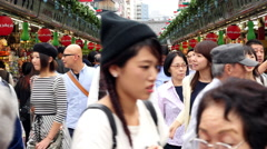 Time Lapse of People at Shopping Stalls Outside Sensoji Temple  -  Tokyo Japan Stock Footage