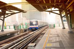 bts sky trains in bangkok city important urban transportation in heart of ban - stock photo