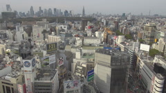 Aerial view Shinjuku district Shibuya area modern skyscraper Tokyo tourism icon Stock Footage