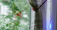 Snow strom seen through a window - stock footage