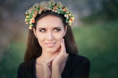 Portrait of a Happy Girl with Floral Wreath Outside Stock Photos