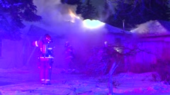House fire during the winter Stock Footage