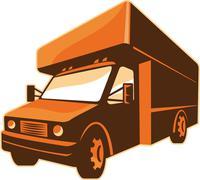Moving truck delivery van retro. Stock Illustration