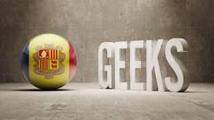 Andorra. Geeks  Concept. Stock Illustration