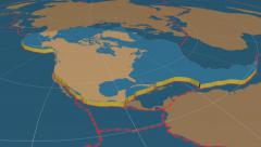 North American tectonic plate extruded. Solids. Enhanced version - stock footage