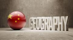 China. Geography  Concept. - stock illustration