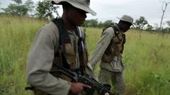 African bush Tracker Rangers Stock Footage