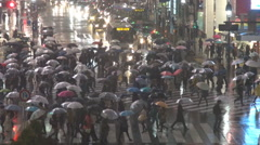 Shibuya crossing night rain storm traffic street umbrella people cross Tokyo way Arkistovideo
