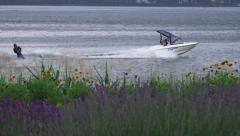 Waterski Stunts Lake Kawaguchi Shoreline Feilds Of Lavender Stock Footage